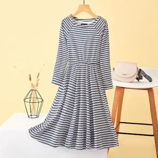 La Chapelle 拉夏贝尔 旗下新款时尚气质收腰显瘦间条长袖中长裙连衣裙女