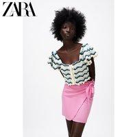 ZARA新款 钩针编织针织上衣 03991027044 蓝色 / 白色 S
