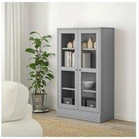 IKEA 宜家 HAVSTA 海思塔 玻璃门橱柜带踢脚板 灰色, 透明玻璃