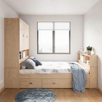 林氏木业 J1A-B 现代高箱床+抱枕 1.2*1.9m