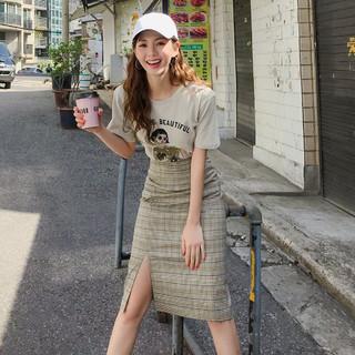 HSTYLE 韩都衣舍 格纹时尚套装2021夏季新款女装短袖T恤+半身裙套装两件套