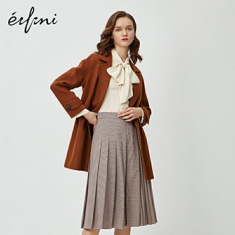 eifini 伊芙丽 毛呢外套秋冬新款韩版100%羊毛女士中长款双面呢大衣女