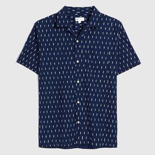 Gap 盖璞 男装时尚潮流印花短袖衬衫579998 夏季新款简约男士衬衣