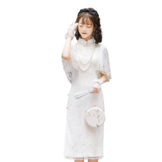 Yourhighness Lolita洛丽塔 民国风 二十四节气系列 清明 女士有袖旗袍2件套 乳白色 S