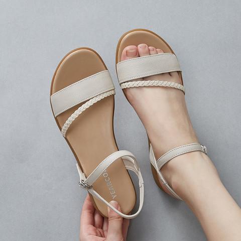 YEARCON 意尔康 1372DL26307W 女款编织平跟罗马鞋