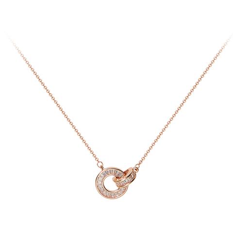 AJIDOU AA192013340 女士玫瑰金罗马圆环项链