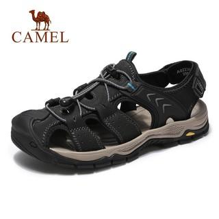 CAMEL 骆驼 Camel/骆驼官方店男鞋 夏凉鞋男休闲户外包头潮流舒适防滑牛皮沙滩鞋男 A022307332,黑色 39