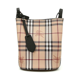 BURBERRY 博柏利 女士 经典格纹战马标志水桶包 牛皮单肩斜挎包 两面可用40571561