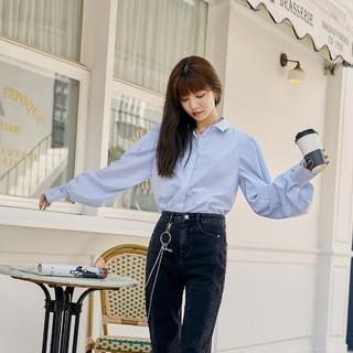Vero Modains复古风通勤泡泡袖长袖衬衫女|320305005