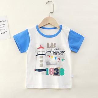 夏季儿童纯棉短袖T恤卡通上衣宝宝婴儿衣服 蓝色灯塔 120cm