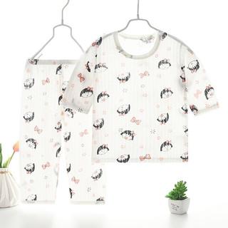 儿童夏款空调服纯棉男女童宝宝薄款透气睡衣套装七分袖家居服 小女孩 120码