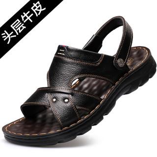 策霸CEBA凉鞋男2021夏季新款男士凉拖两用鞋加厚头层牛皮沙滩鞋防滑男软底凉鞋
