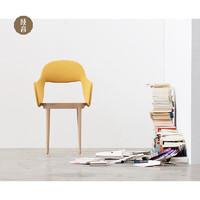 吱音拂袖椅 北欧创意休闲靠背椅卧室家用餐椅设计师家具 本木色(藤黄色软包)-现货7天闪发