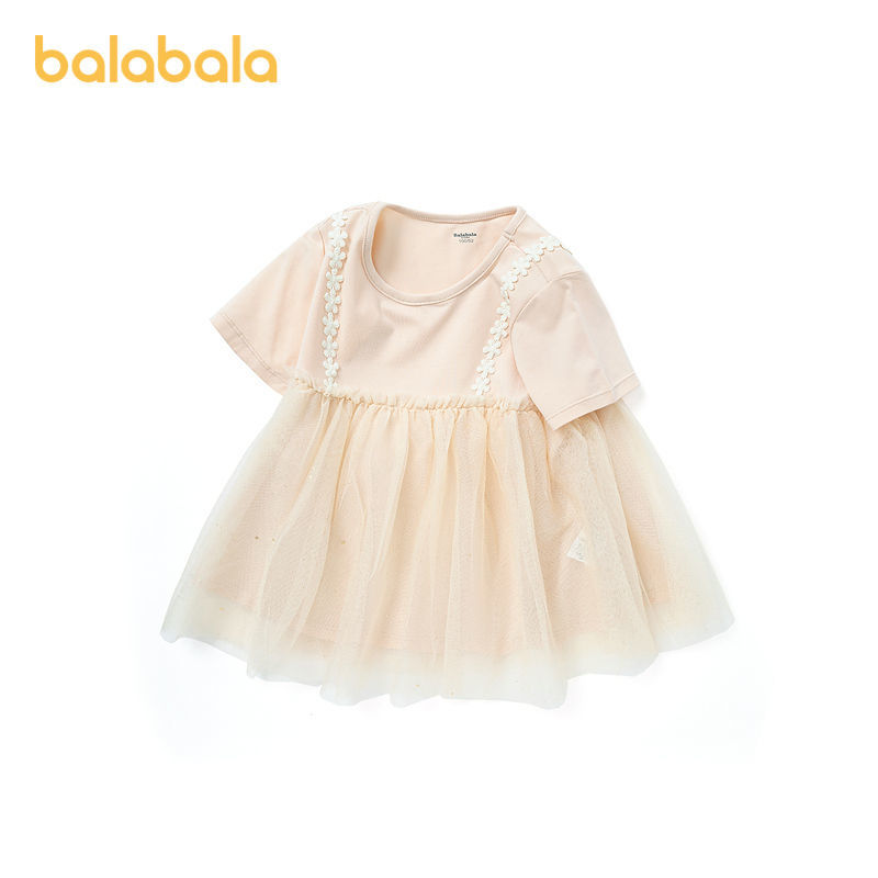 balabala 巴拉巴拉 女童网纱假两件连衣裙