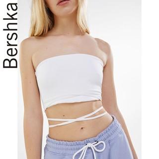Bershka 巴适卡 女士 2021春季新款洋气时尚无肩带裹胸上衣 03124256250