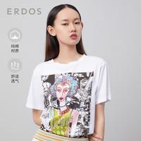 ERDOS 鄂尔多斯 春夏新款手绘印花图案女士圆领短袖T恤宽松休闲纯棉上衣