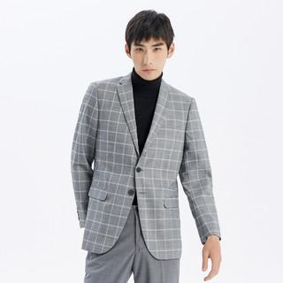 ME&CITY 2021春夏男羊毛格子修身商务西装男式西服