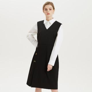 ME&CITY 2021夏新款女纽扣商务休闲舒适时尚收腰无袖连衣裙
