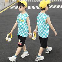 最最 奥特曼联名衣服男童背心套装夏装2021新款中大儿童运动两件套 湖绿 110