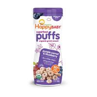 HappyBABY 禧贝 宝宝零食 有机彩虹泡芙 紫色萝卜蓝莓味 60g/罐