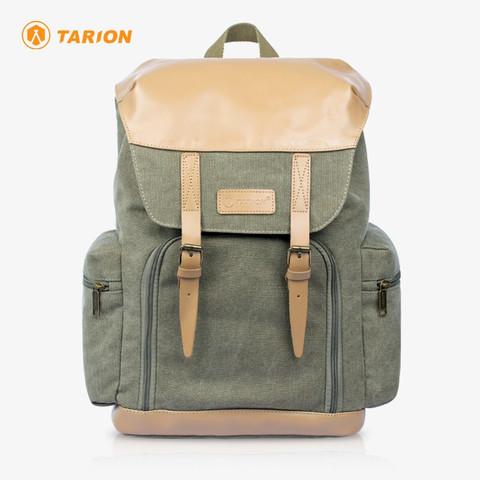 TARION 德国相机包单反双肩背包便携牛皮帆布摄影包佳能尼康内胆包M02 密林绿