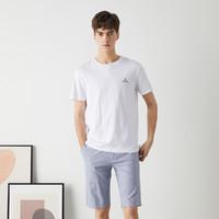 海一家圆领三扣短T2021夏季新品简约字母印花舒适短袖T恤男