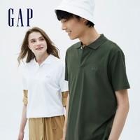 Gap男装LOGO纯棉运动POLO衫889904 2021夏季新款 白色 175/88A(XS)