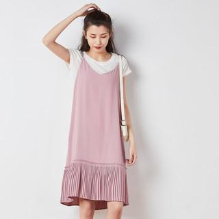 TONLION 唐狮 新款夏装连衣裙女淑女气质短袖吊带百褶裙两件套套装裙
