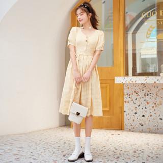 Semir 森马 2021夏季新款V领小清新格子裙宽松薄款舒适显瘦A字连衣裙女