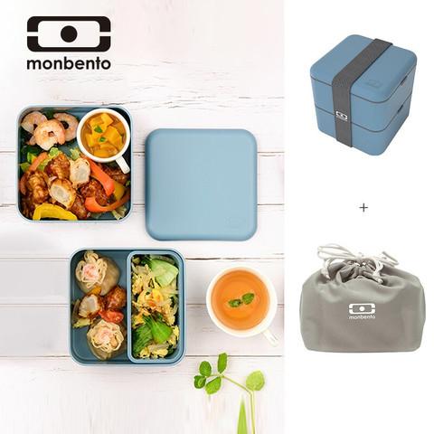 monbento 法国monbento便当盒方形大容量饭盒可微波炉加热午餐盒双层日式保鲜盒健身餐盒套装 静谧牛仔1.7L+便当包