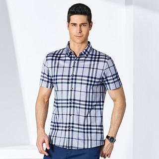 SEPTWOLVES 七匹狼 夏季新款男士衬衣短袖商务休闲针织衬衫男装