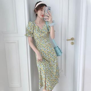YUZHAOLIN 俞兆林 法式复古时尚百搭显瘦V领泡泡短袖碎花雪纺连衣裙2021新款女