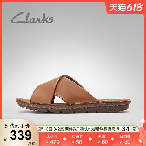 Clarks 其乐 女鞋夏季Blake Sydney时尚简约交叉带罗马软底凉拖