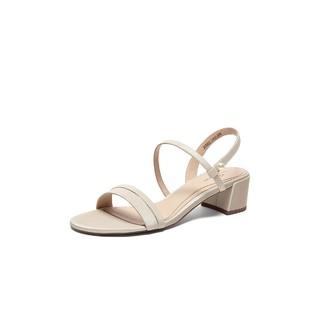 Tata 他她 专柜同款羊皮革一字带中跟休闲女凉鞋夏时尚