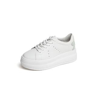 BASTO 百思图 时尚休闲网面透气厚底小白鞋透气女鞋