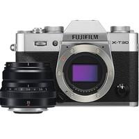 PLUS会员:FUJIFILM 富士 X-T30 APS-C画幅 微单相机 银色 (35mm-F2定焦镜头)