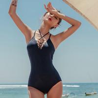三奇 专柜同款 保守遮肚显瘦连体一件套  女士泳衣 黑色 M