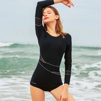 heatwave/热浪 泳装女长袖保守防晒连体泳衣沙滩温泉新款遮肚显瘦平角女士游泳衣 黑色 M