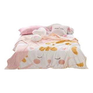 MERCURY 水星家纺 法兰绒毯毛毯 毛巾被四季空调毯盖毯办公室午睡毯子 猫点点法兰绒毯 150×200cm