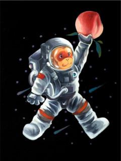 陈建周《宇航员举桃》45×60cm 2019年 版画装饰画 布面微喷
