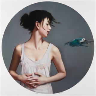 李贵君《呼吸》直径70cm 装饰画 风景画艺术家亲笔签名画