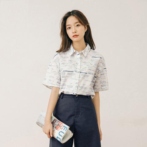 YINMAN 茵曼 休闲夏日印花短袖衬衫女2021夏装新款复古海军领纯色简约甜美