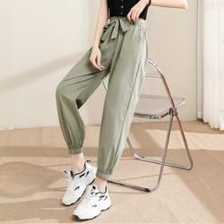 La Chapelle 拉夏贝尔 旗下新款纯色系带休闲运动裤女式高腰显瘦宽松小脚裤