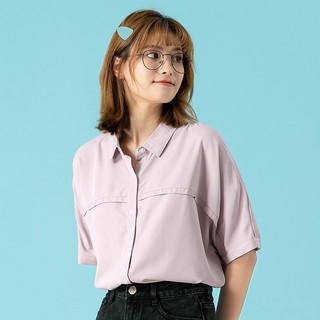 JEANSWEST 真维斯 短袖衬衫女春夏季 女士舒适宽松衬衣简约纯色女装