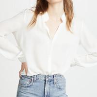 Haoduoyi 夏季新款简约领口明线装饰白色通勤V领长袖女衬衫