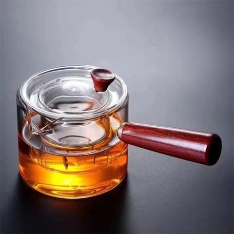 GINIX 鲸意 家用侧把玻璃茶壶木把煮茶器