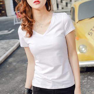 白色t恤女短袖莫代尔棉v领上衣2021纯色鸡心领半袖体恤修身打底衫