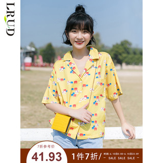LRUD 衬衫女设计感小众2020春季新款复古港味宽松短袖学生衬衣上衣
