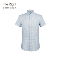 InteRight INTERIGHT 时尚休闲短袖衬衫男蓝格衬衫