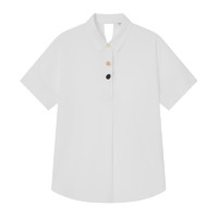 Semir 森马 短袖衬衫女POLO领不规则复古2021年夏季新款宽松白色女生衣服
